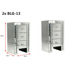 2x Mirrored Bedside Tables Pair of Nightstands Crystal Cabinets UK Drawers Sets