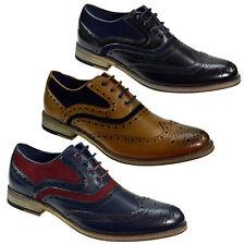 Hombre Cuero Real Italiano Cuero Calado 2 Tonos Zapatos Calzado Casual Formal Boda