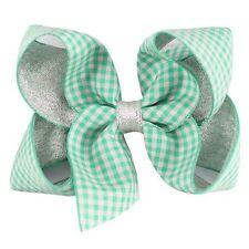 (GREEN &WHITE)Gingham Hair Clip Bow GIRLS' School Hair Accessories