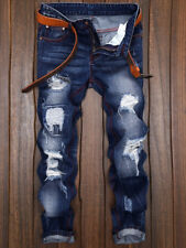 Fashion Men'S Patches Straight Leg Jeans Ripped Denim Casual Pants Trousers