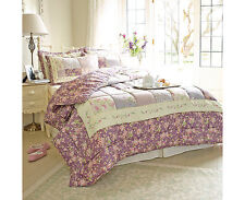 Lovely Lavender Patchwork Quilted Throw Blanket Bedspread Set with Pillow cases