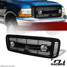FOR 1999-2004 F250/F350/EXCURSION BLACK HORIZONTAL FRONT GRILL GRILLE+FOG LIGHTS