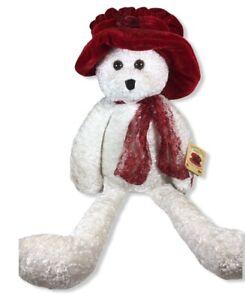 "Chantilly Lane Ashley Bear WhiteWith Red Hat 22"" Teddy Bear"