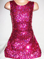 GIRLS 60s STYLE BRIGHT PINK SPARKLY HOLOGRAPHIC SEQUIN DISCO DANCE PARTY DRESS