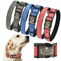 Personalized Dog Collar Custom Engraved ID Name Padded Small Medium Large Puppy