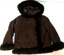 Baby Gap Girls Corduroy Jacket Brown Faux Fur Trimmed Hood Coat Size 5 Years