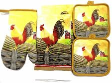 Country Rooster on Fence Kitchen Towel Set 5 Red Barn Pot Holders Oven Mitt A