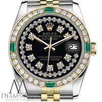 Ladies Rolex 26mm Datejust two Tone Black String Diamond Dial & Emerald