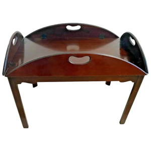 Vintage Irwin Butlers Table Chippendale Mahogany Serving Tray Removable top 9124