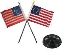 "Nyberg III 3% Three Percent & Betsy Ross Flag 4""x6"" Desk Set Table Black Base"