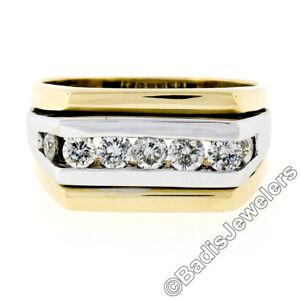 Men's 14K TT Gold 0.70ctw Round Brilliant Cut Channel Set Diamond Wide Band Ring