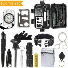 12 in 1 SOS Kit Outdoor Emergency Equipment Box For Camping Survival Gear Kit