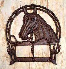 Cast Iron Horse Head & Horseshoe Wall-Mount Vintage Coat/Towel Rack Holder