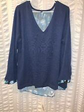 NYDJ Not Your Daughters Jeans Navy & Floral Faux Sweater Blouse XL EUC