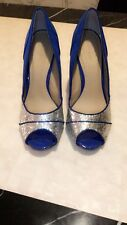 LOVE LABEL Faux Suede Bow Open Toes Royal Blue Glitter Front High Heel Shoes