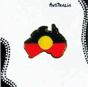 Aboriginal Flag Badge Pin Australia Shape - Aboriginal Australian Souvenir Gift