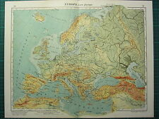 1921 MAP ~ EUROPE PHYSICAL ~ GREAT BRITAIN FRANCE ITALY SPAIN GERMNAY RUSSIA etc
