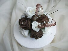 WEDDING FLOWER CAKE TOPPER, chocolate brown  and ivory with butterfly