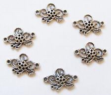 6 Métal Argent Antique Fleur Bijoux Connecteurs-Argent Antique -25 mm