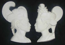"""Plaster King & Queen Crafts & Novelty, White/Unpainted 2pc Set  7"""""""