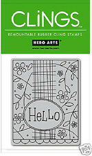 HERO ARTS CLINGS RUBBER Stamp HELLO CG112 SUPER CUTE!!!