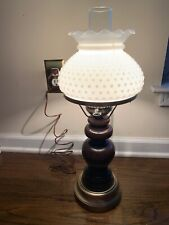 Vintage Wooden Hurricane Lamp Hobnail Milk Glass Shade