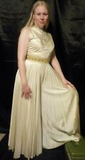 New listing Vgc Vtg 70s Mod Gold Wide Leg Pleated Silky Skirted Jumpsuit with jeweled belt
