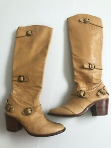 $695 HOSS WOMENS 7 7.5 VINTAGE RIDING STYLE western BOHO long KNEE BOOT designer