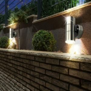 2er Set LED Außen Leuchten Fassaden Wand Strahler UP DOWN Edelstahl Glas Lampen