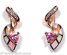 ROSA ORO SOPRA ARGENTO 925 Cubico Topazio & opale di fuoco INTARSIO orecchini