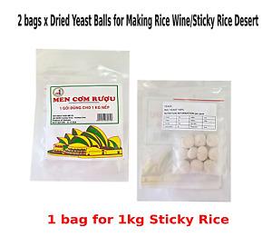 2 x Dried Yeast Balls for Sweet Rice Wine/Sticky Rice Desert Vietnamese Style