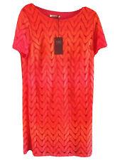 16 M&S Orange & pink retro wave stretch straight dress