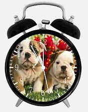 "Cute English Bull Dog Puppies Alarm Desk Clock 3.75"" Home or Office Decor E154"