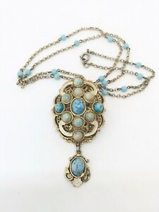 vintage Czech turquoise glass painted filigree necklace ~Art Deco ~ signed ~