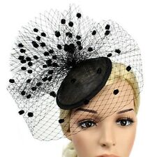 STUNNING BLACK SINAMAY FASCINATOR WITH VELVET SPOTTED VEILING AND BLACK HEADBAND