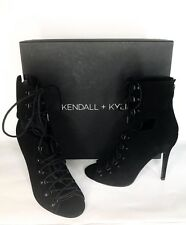 NEW $199 Kendall + Kylie Black Suede Lace Up GWEN Booties 7.5M Boots Mid Calf