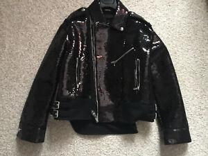 Diesel Black Gold  Bikerjacke Pailletten Jacke Größe 42 It  36-38d Made in Italy