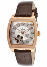 Bulova 97P101 BVA Automatic Floral Aperture Dial Leather Strap Ladies Watch
