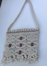 VTG Hippie Macrame Fringe Shoulder Purse BoHo Beads Bag Beige Lined
