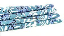 Indian 5 Yard Cotton Hand Block Print Green Handmade Natural Jaipuri Sari Fabric