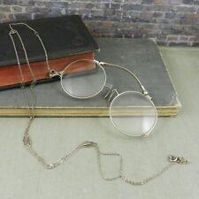 Antique 14K White Gold Folding Lorgnette Glasses w/ Chain