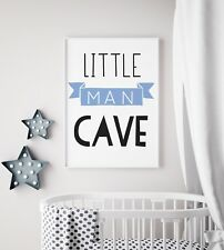 Little Man Cave Banner Blue & Black Nursery Print Kids Bed Boys Wall Art Picture