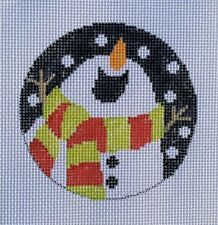 Let it Snow Snowman Ornament Hand Painted Needlepoint Canvas