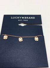Lucky Brand rose gold tone clover charm bracelet D5