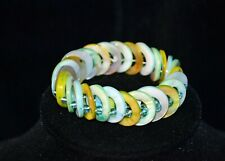 Stacked Disc Bead Bracelet Blue Green Mother of Pearl Discs Womens Jewelry