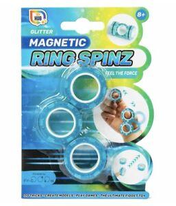 NEW BLUE GLITTER MAGNETIC RING SPINZ FIDGET SPINNER FEEL THE FORCE TOY HUB