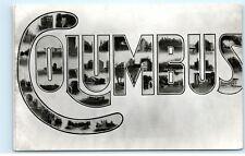 Black and White Columbus Ohio Large Letter old Vintage Postcard B02