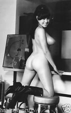 1960s Busty Brunette Pinup Kneeling on Bar Stools  8 x 10 Photograph