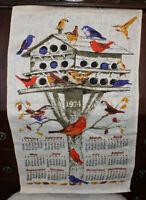 Vintage Linen Tea Towel Calendar 1974 Birdhouse Vibrant Colors!