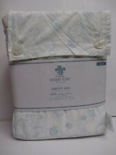 Simply Shabby Chic Cottage White Blue Paisley Rose Floral Sheet Set - Queen